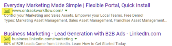 SEM ads example