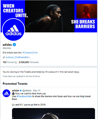 twitter ads transparency example adidas